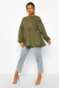 Womens Petite Puff Sleeve Smock Sweat Top - Green - 6, Green