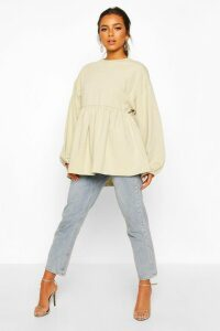 Womens Petite Puff Sleeve Smock Sweat Top - Beige - 14, Beige