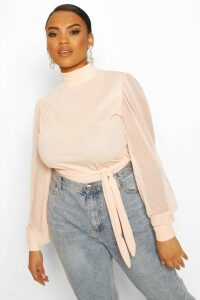 Womens Plus Mesh Puff Sleeve Belted Tunic Top - pink - 24, Pink