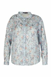 Womens Plus Floral Satin Sheer Stripe Collarless Shirt - Blue - 18, Blue