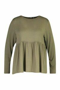 Womens Plus Jersey Longsleeve Frill Hem Smock Top - Green - 24, Green
