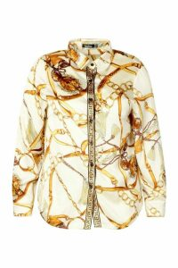 Womens Plus Chain Print Shirt - white - 24, White