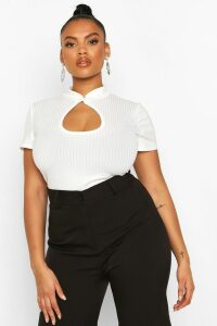 Womens Plus Mandarin Collar Cut Out Fitted Top - White - 22, White