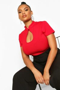Womens Plus Mandarin Collar Cut Out Fitted Top - Red - 20, Red