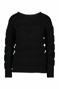 Womens Petite Bubble Knit Jumper - black - L, Black