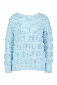 Womens Petite Bubble Knit Jumper - blue - M, Blue