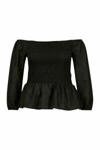 Womens Plus Shirred Peplum Bardot Top - Black - 24, Black