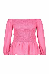 Womens Plus Shirred Peplum Bardot Top - Pink - 24, Pink