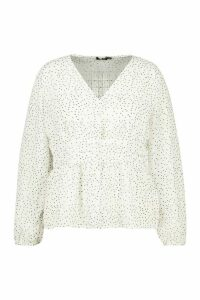 Womens Plus Polka Check Sheer Peplum Blouse - white - 20, White