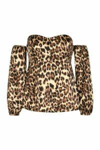 Womens Plus Leopard Satin Bardot Peplum Top - brown - 20, Brown