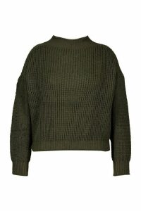 Womens Plus High Neck Cable Jumper - green - 16-18, Green