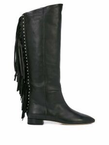 Saint Laurent fringed knee-length boots - Black