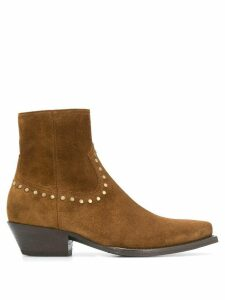 Saint Laurent Lukas studded ankle boots - Brown