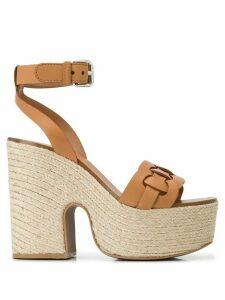 Miu Miu platform wedge sandals - Brown