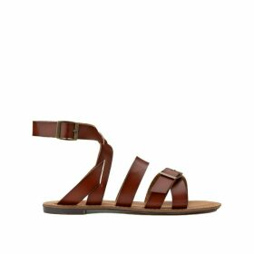Flat Sandals with Crossover Ankle Straps
