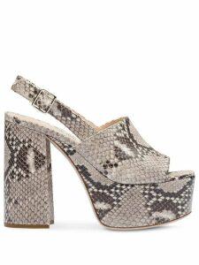Miu Miu python-print leather sandals - NEUTRALS