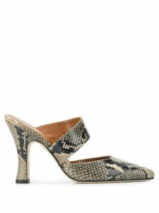 Paris Texas snakeskin print mules - NEUTRALS