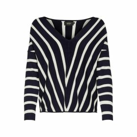 Fine Knit Striped Jumper with V-Neck