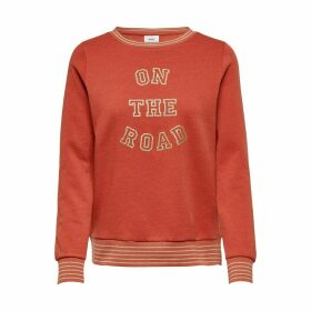 Printed Crew-Neck Sweatshirt with Striped Detailing