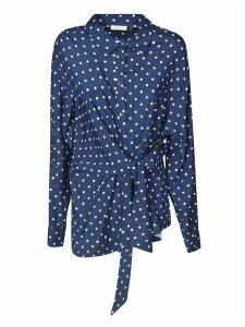 Parosh Tied Waist Dotted Print Shirt