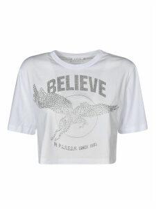 Parosh Believe Embellished Cropped T-shirt