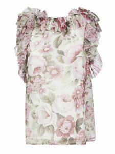 Parosh Floral Print Ruffled Top