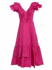 Parosh Dress W/s V Neck Taffetas W/volant