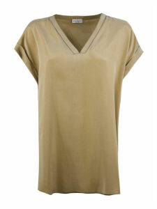 Brunello Cucinelli Brown Silk Blend Blouse