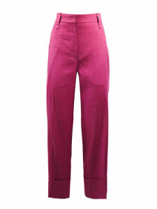 Brunello Cucinelli Fuchsia Linen And Cotton Trousers