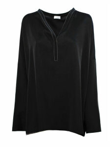 Brunello Cucinelli Black Silk Blend Blouse