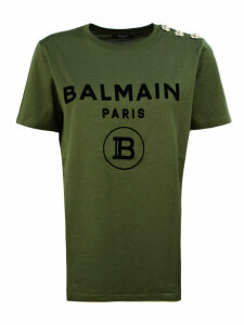 Balmain Olive And Black Cotton T-shirt