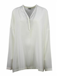 Brunello Cucinelli White Silk Blend Blouse