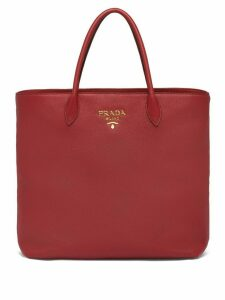 Prada logo plaque tote bag - Red