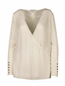 Givenchy Silk Top Whit Foulard Collr