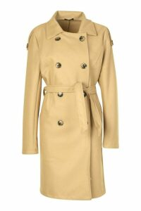 Womens Belted Wool Look Double Breasted Trench Coat - beige - 16, Beige