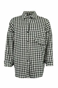 Womens Tall Oversized Check Brushed Shirt - black - One Size, Black