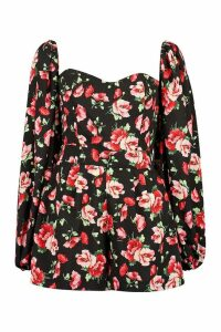Womens Floral Print Knot Front Balloon Sleeve - Black - 16, Black