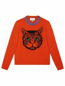 Gucci Mystic cat wool knit sweater - ORANGE