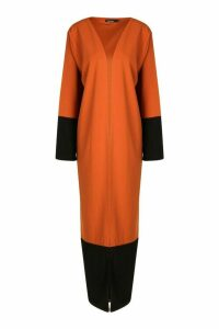 Womens Colour Block Kimono - Orange - L, Orange
