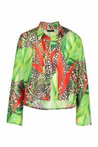Womens Leopard Tropical Beach Shirt - black - M, Black