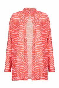 Womens Zebra Oversize Beach Shirt - red - M, Red