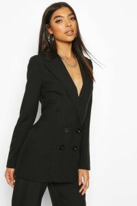 Womens Tall Double Breasted Woven Blazer - Black - 12, Black