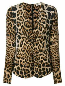 Saint Laurent leopard print gathered blouse - Black
