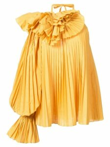 Rosie Assoulin pleated one shoulder blouse - Yellow