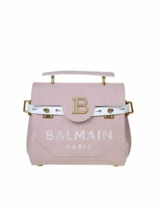 Balmain B-buzz 23 Hand Bag In Pink Canvas With Logo