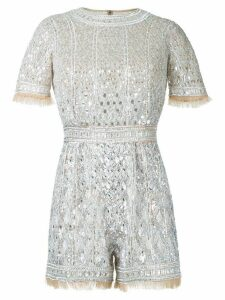 Zuhair Murad beaded shortsleeved romper - Metallic