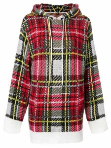 R13 cashmere checked hooded sweater - Red