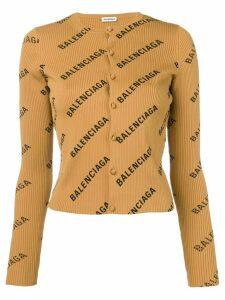 Balenciaga longsleeved logo cardigan - NEUTRALS