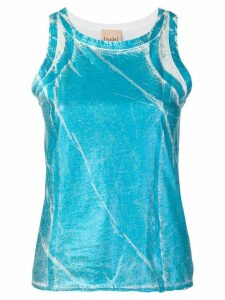 Nude painted effect tank top - Blue