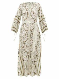 D'Ascoli - Southampton-print Silk-crepe Maxi Dress - Womens - Green Print